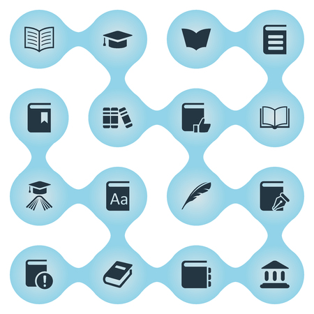 Vector Illustration Set Of Simple Knowledge Icons. Elements Reading, Journal, Plume And Other Synonyms Feather, Write And Blank. Illustration