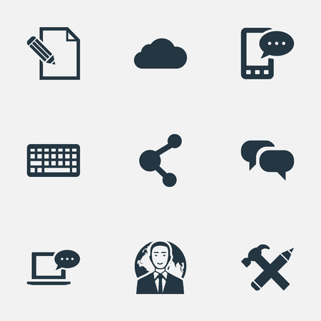laptop repair: Vector Illustration Set Of Simple User Icons. Elements Gossip, International Businessman, Keypad And Other Synonyms Conversation, Overcast And Pen. Illustration