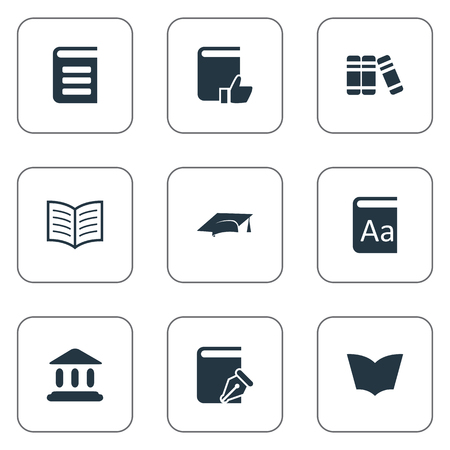 Vector Illustration Set Of Simple Knowledge Icons. Elements Bookshelf, Encyclopedia, Recommended Reading And Other Synonyms Encyclopedia, Dictionary And Literature. Ilustração