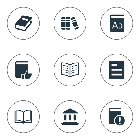 Vector Illustration Set Of Simple Education Icons. Elements Important Reading, Bookshelf, Tasklist And Other Synonyms Recommended, Book And Notebook. Ilustrace