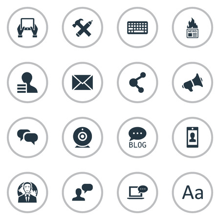 Vector Illustration Set Of Simple Blogging Icons. Elements Gossip, Repair, Man Considering And Other Synonyms Repair, Profile And Hammer.