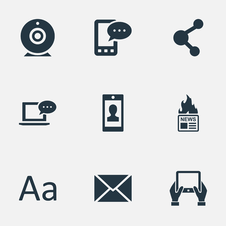 intercourse: Vector Illustration Set Of Simple User Icons. Elements Share, Post, Notepad And Other Synonyms Missive, Post And Notepad. Illustration