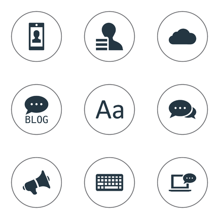 Vector Illustration Set Of Simple Newspaper Icons. Elements Loudspeaker, Overcast, Cedilla And Other Synonyms Earnings, Discussion And Overcast.