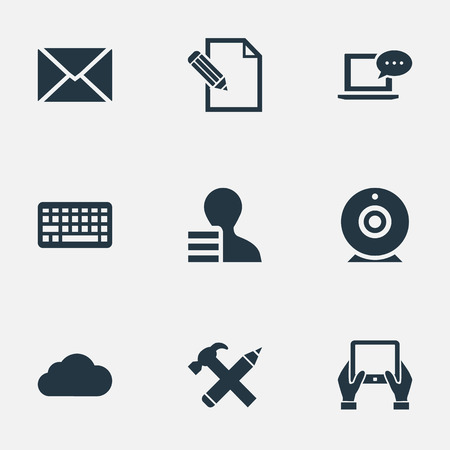 Vector Illustration Set Of Simple User Icons. Elements Document, Gain, Post And Other Synonyms Epistle, Notepad And Pen. Illustration