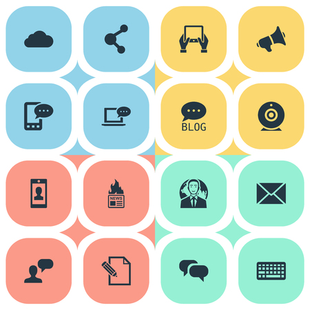 Vector Illustration Set Of Simple Blogging Icons. Elements Document, E-Letter, Broadcast And Other Synonyms International, Speaker And Man.