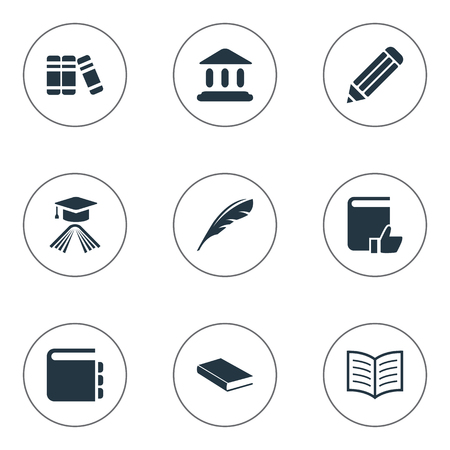 open magazine: Vector Illustration Set Of Simple Education Icons. Elements Pen, Book Page, Notebook And Other Synonyms Notepad, Writing And Quill.