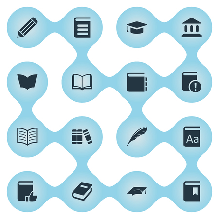 Vector Illustration Set Of Simple Knowledge Icons. Elements Bookshelf, Alphabet, Plume And Other Synonyms Alphabet, Encyclopedia And Writing. Illustration