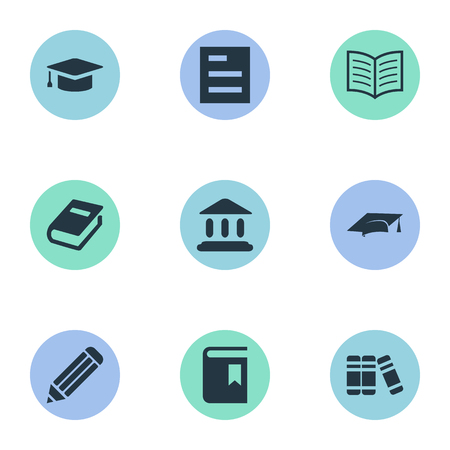 Vector Illustration Set Of Simple Education Icons. Elements Library, Academic Cap, Book Page And Other Synonyms Graduation, Building And Reading.