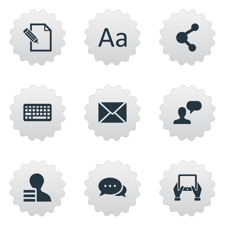 Vectorillustratiereeks Eenvoudige Krantenpictogrammen. Elementen Cedilla, bericht, document en andere synoniemenrelatie, debat en onderhandeling.