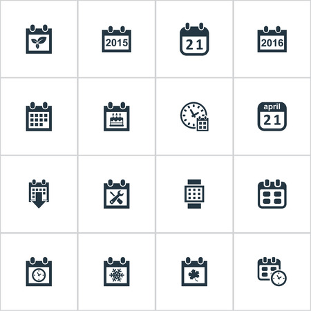 Vector Illustration Set Of Simple Time Icons. Elements 2016 Calendar, Intelligent Hour, Plant And Other Synonyms Watch, Agenda And Special.