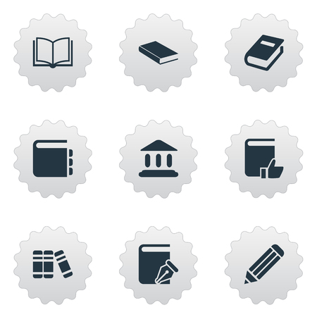 Vector Illustration Set Of Simple Education Icons. Elements Library, Blank Notebook, Bookshelf And Other Synonyms Academy, Bookshelf And School. Ilustração