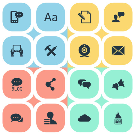 Vector Illustration Set Of Simple Blogging Icons. Elements Broadcast, Loudspeaker, Document And Other Synonyms Speech, Profit And Negotiation.