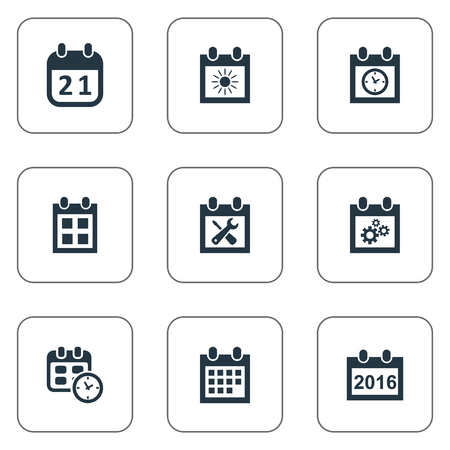 Vector Illustration Set Of Simple Calendar Icons. Elements 2016 Calendar, Planner, Agenda And Other Synonyms Planner, Almanac And Event.
