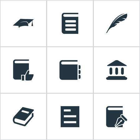 Vector Illustration Set Of Simple Reading Icons. Elements Academic Cap, Journal, Sketchbook And Other Synonyms Sketchbook, Quill And Recommended.