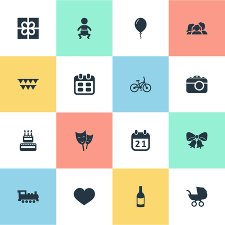 Vector Illustration Set Of Simple Birthday Icons. Elements Beverage, Baby Carriage, Decorations; And Other Synonyms Flags, Present And Photography.