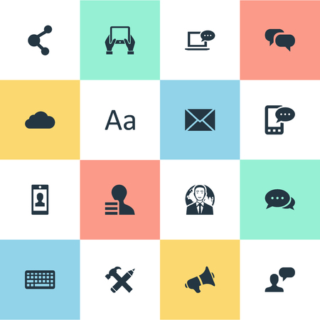 Vector Illustration Set Of Simple User Icons. Elements E-Letter, Notepad, Share And Other Synonyms Discussion, Earnings And Globe.