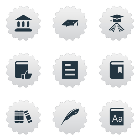 Vector Illustration Set Of Simple Education Icons. Elements Plume, Tasklist, Graduation Hat And Other Synonyms Academy, List And Graduation. Ilustrace