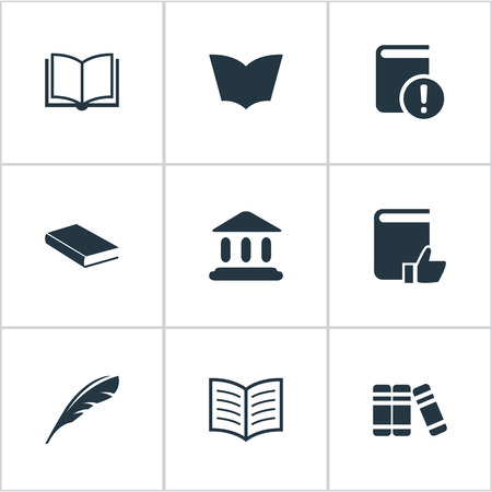 reading app: Vector Illustration Set Of Simple Knowledge Icons. Elements Blank Notebook, Plume, Library And Other Synonyms Plume, Library And Textbook.