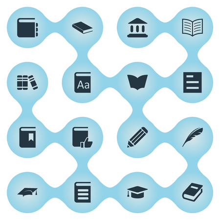 Vector Illustration Set Of Simple Knowledge Icons. Elements Bookshelf, Tasklist, Notebook And Other Synonyms Literature, Bookshelf And Dictionary.
