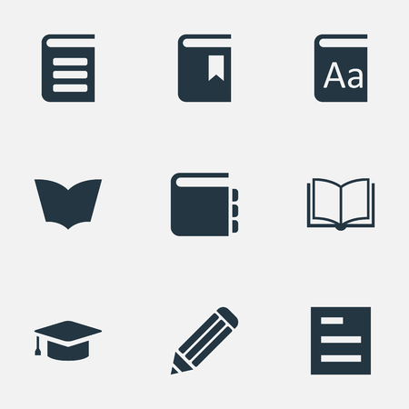 Vector Illustration Set Of Simple Reading Icons. Elements Tasklist, Alphabet, Encyclopedia And Other Synonyms Book, Encyclopedia And Bookmark.
