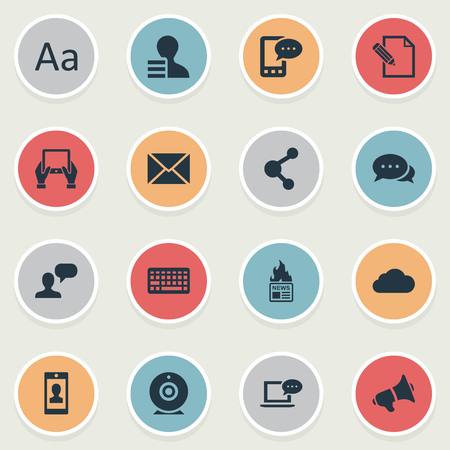 Vector Illustration Set Of Simple Newspaper Icons. Elements Cedilla, Overcast, Post And Other Synonyms Keypad, Profile And Hot. Illustration