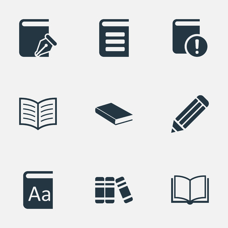 open notebook: Vector Illustration Set Of Simple Knowledge Icons. Elements Blank Notebook, Important Reading, Sketchbook And Other Synonyms Book, Important And Bookshelf. Illustration