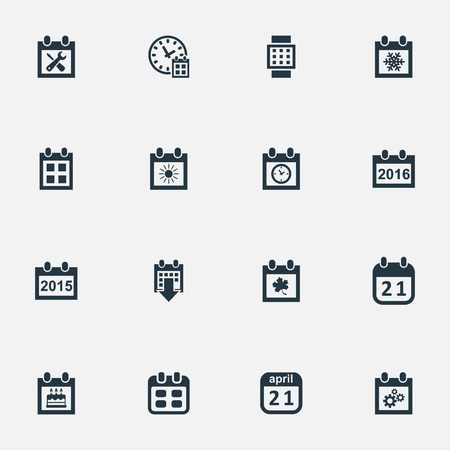 Vector Illustration Set Of Simple Date Icons. Elements Snowflake, Deadline, Summer Calendar And Other Synonyms Wheel, Event And Hour.