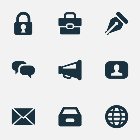 Vector Illustration Set Of Simple Trade Icons. Elements Representative, Nib, Padlock And Other Synonyms Net, Dossier And Web. Illustration
