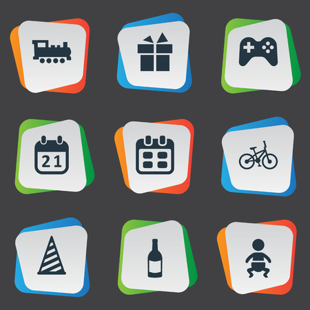 pad: Vector Illustration Set Of Simple Holiday Icons. Elements Infant, Ribbon, Special Day And Other Synonyms Train, Days And Infant.