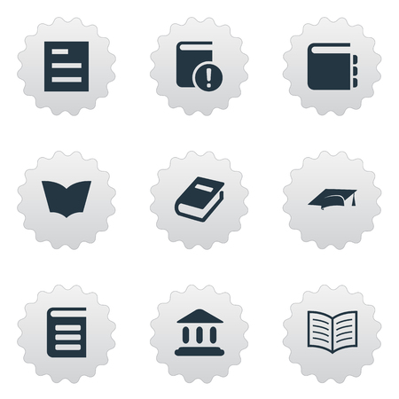 Vector Illustration Set Of Simple Reading Icons. Elements Journal, Encyclopedia, Book Page And Other Synonyms List, Building And Reading.