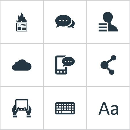 Vector Illustration Set Of Simple Blogging Icons. Elements Argument, Gazette, Share And Other Synonyms Phone, Discussion And Hand.