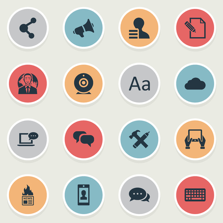 Vector Illustration Set Of Simple Blogging Icons. Elements Profile, Overcast, Gossip And Other Synonyms Hammer, Discussion And Web.