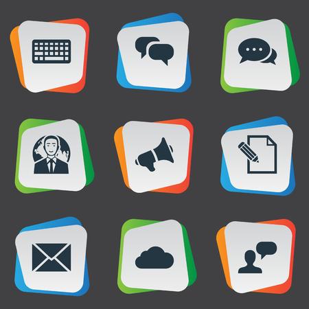 Vector Illustration Set Of Simple Newspaper Icons. Elements Loudspeaker, Overcast, International Businessman And Other Synonyms Keypad, Speaker And Sky. Illustration