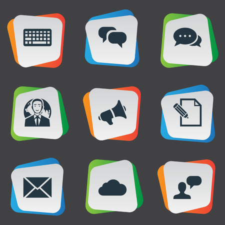 Vector Illustration Set Of Simple Newspaper Icons. Elements Loudspeaker, Overcast, International Businessman And Other Synonyms Keypad, Speaker And Sky. Çizim