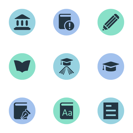 Vector Illustration Set Of Simple Knowledge Icons. Elements Important Reading, Tasklist, Graduation Hat And Other Synonyms Page, Textbook And Write. Illustration