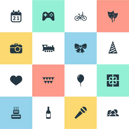 Vector Illustration Set Of Simple Celebration Icons. Elements Domestic, Game, Special Day And Other Synonyms Domestic, Voice And Calendar.