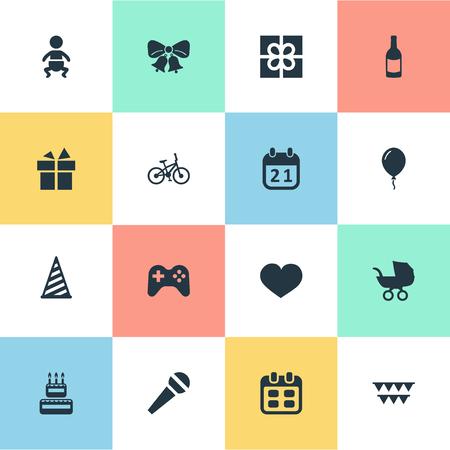 벡터 일러스트 레이 션 간단한 생일 아이콘의 집합입니다. 요소 상자, Aerostat, 음료 및 기타 동의어 파티, 모자 및 감정. 일러스트