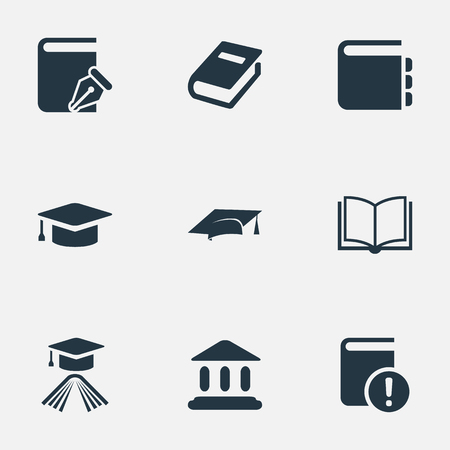 Vector Illustration Set Of Simple Knowledge Icons. Elements Graduation Hat, Important Reading, Academic Cap And Other Synonyms Building, School And Notebook.