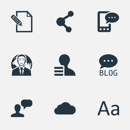 Vector illustratie Set van eenvoudige bloggen pictogrammen. Elementen Bewolkt, delen, overwegen en andere synoniemenwinst, netwerk en telefoon.
