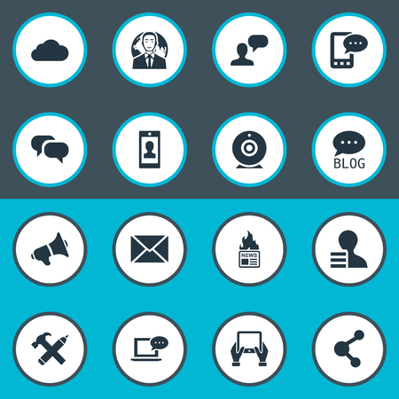 Vector Illustration Set Of Simple User Icons. Elements Loudspeaker, Gain, Overcast And Other Synonyms Laptop, Considering And Smartphone.