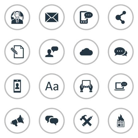 Vectorillustratiereeks Eenvoudige Gebruikerspictogrammen. Elementen Laptop, Gossip, Notepad en andere synoniemen Post, internationaal en gesprek.