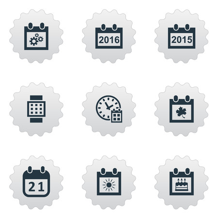 Vector Illustration Set Of Simple Date Icons. Elements Almanac, Intelligent Hour, Special Day And Other Synonyms Watch, Clock And Autumn. Illustration