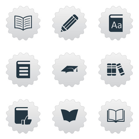 reading app: Vector Illustration Set Of Simple Reading Icons. Elements Encyclopedia, Academic Cap, Reading And Other Synonyms Library, Page And Graduation.