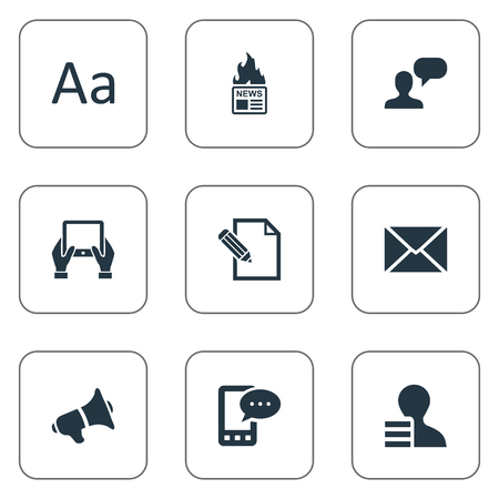 Vector Illustration Set Of Simple Blogging Icons. Elements Notepad, Cedilla, Post And Other Synonyms Writing, Contract And Alphabet. Illustration