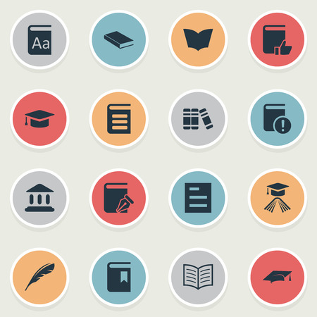 Vector Illustration Set Of Simple Knowledge Icons. Elements Graduation Hat, Encyclopedia, Book Page And Other Synonyms Quill, Feather And Encyclopedia.