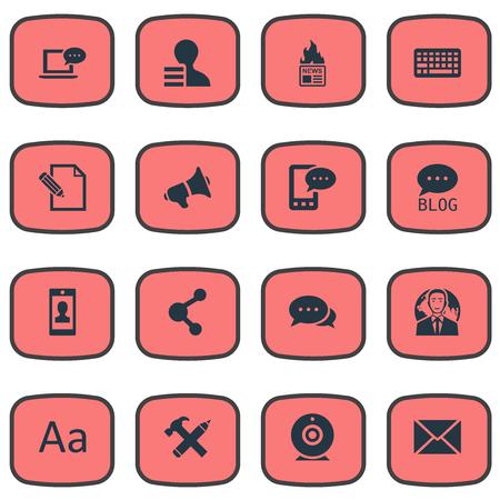 Vector illustratie Set van eenvoudige bloggen pictogrammen. Elements Site, Gain, Gazette en andere synoniemenpreker, smartphone en winst.