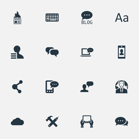 Vector Illustration Set Of Simple Blogging Icons. Elements Argument, Laptop, Overcast And Other Synonyms Gossip, Gain And Speech.