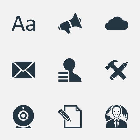 Vector Illustration Set Of Simple Newspaper Icons. Elements Overcast, Post, Broadcast And Other Synonyms Epistle, Broadcast And Megaphone. Çizim