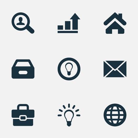 Vector Illustration Set d'icônes commerciales simples. Éléments Dossier, valise, ampoule et autres synonymes du monde, progrès et recherche. Banque d'images - 77060371