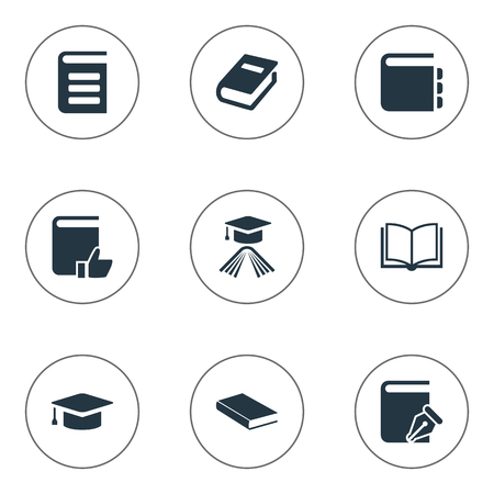 open notebook: Vector Illustration Set Of Simple Knowledge Icons. Elements Blank Notebook, Recommended Reading, Academic Cap And Other Synonyms Reading, Dictionary And Hat.